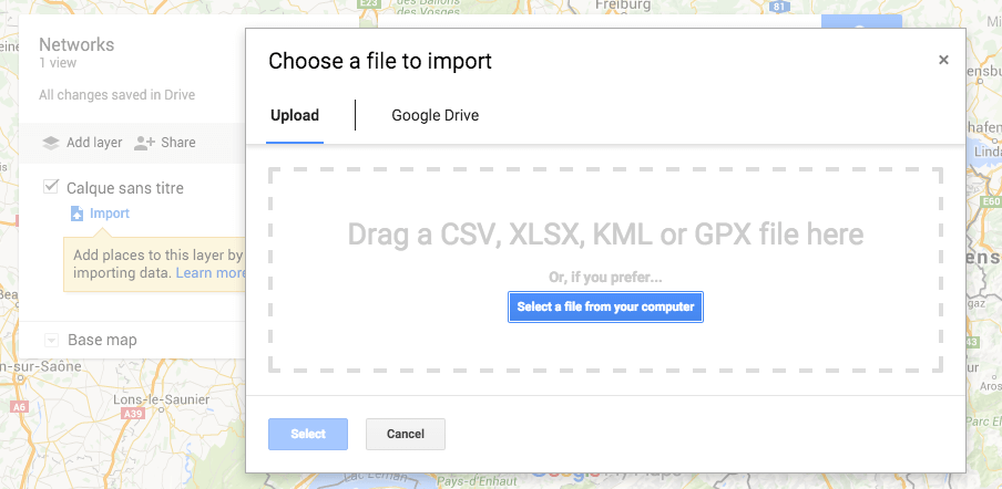 Google Maps - My map - import