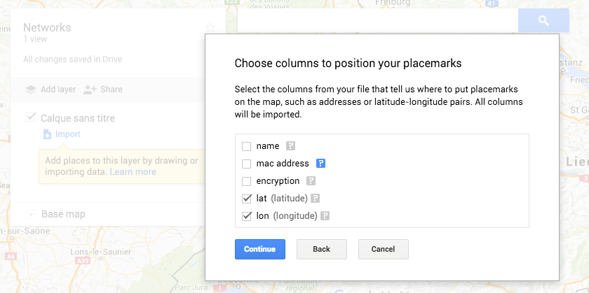 Google Maps - My map - coordinates