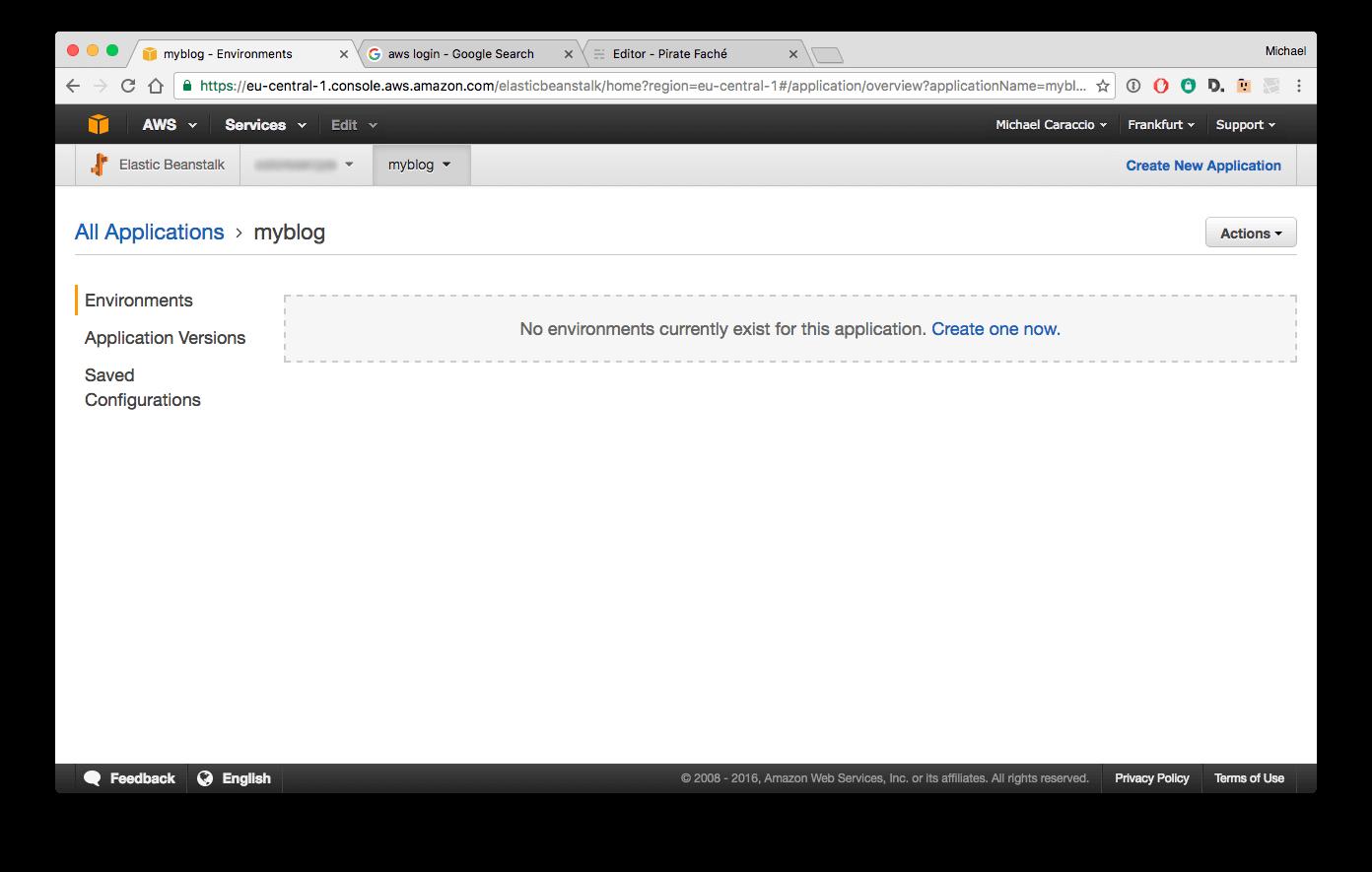 AWS new application