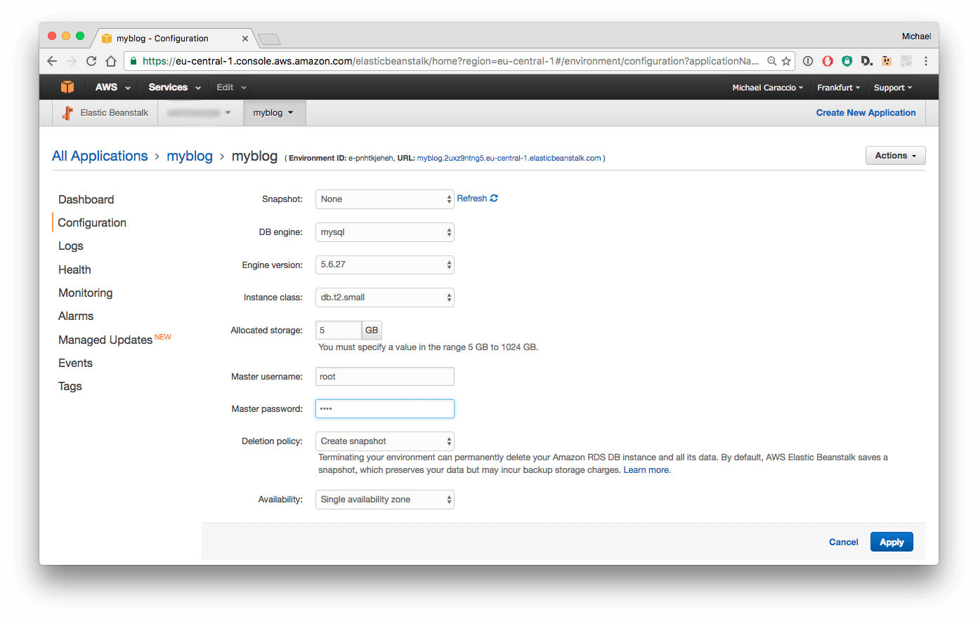 Configure RDS Database